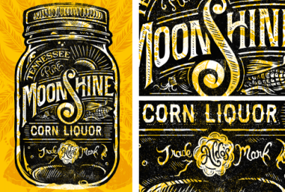 moonshine liquor black yellow