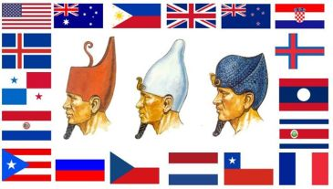 An unusual number of countries have flags whose colors consist only of red, white and blue. The White Crown, Red Crown, and Blue Crown are of Ancient Egypt. The Pattern for the Red, White, and Blue as seen in the Egyptian Crowns can also be seen in the banners [flags] representing the countries of the Tribes of Israel today, and their former colonies.